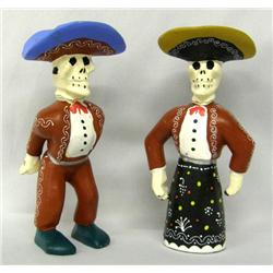 Pair of Wooden Day of the Dead Statues