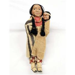Vintage Native American Skookum Doll and Papoose