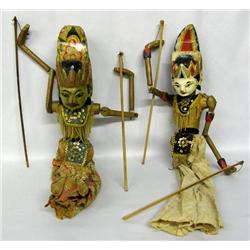 2 Vintage Indonesian Stick Puppets