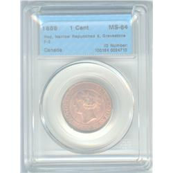 Cent 1859, graded CCCS MS-64; Red, Narrow Repunched 9, Gravestone F-3.