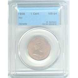 Cent 1908, graded CCCS MS-64; Red. Beautiful coin.
