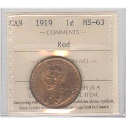 Cent 1919, graded ICCS MS-63; Red.