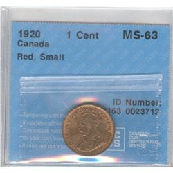 Cent 1920, graded CCCS MS-63; Red, Small.