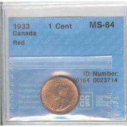 Cent 1933, graded CCCS MS-64; Red.