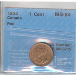 Cent 1934, graded CCCS MS-64; Red.