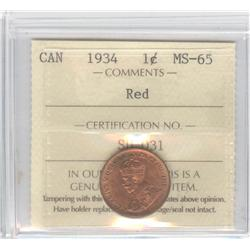 Cent 1934, graded ICCS MS-65; Red.