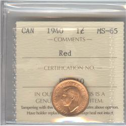 Cent 1940, graded ICCS MS-65; Red.
