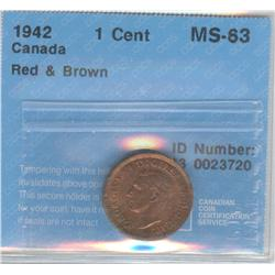 Cent 1942, graded CCCS MS-63; Red & Brown.