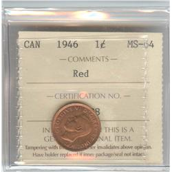 Cent 1946, graded ICCS MS-64; Red.