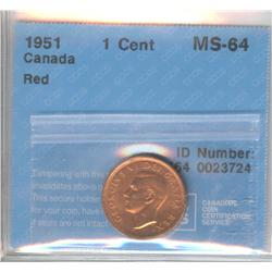Cent 1951, graded CCCS MS-64; Red.