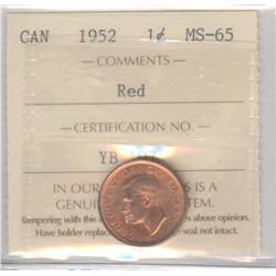 Cent 1952, graded ICCS MS-65; Red.