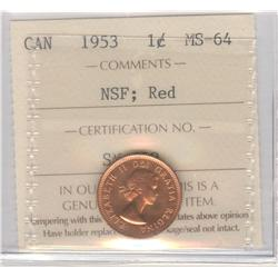 Cent 1953, graded ICCS MS-64; Red, No Shoulder Fold.
