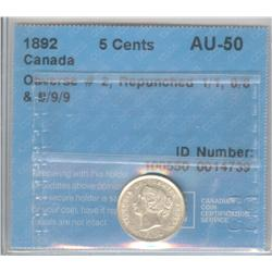 5 Cents 1892, graded CCCS AU-50; Obverse 2, Repunched 1/1, 8/8 & 9/9/9.