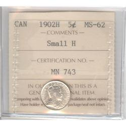 5 Cents 1902H, graded ICCS MS-62; Small H.