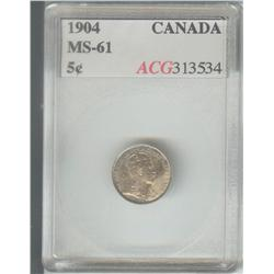 5 Cents 1904, graded ACG MS-61.