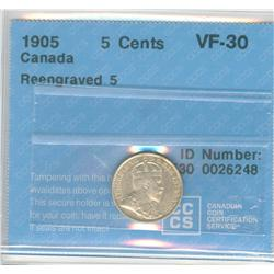 5 Cents 1905, graded CCCS VF-30; Reengraved 5.