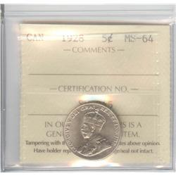 5 Cents 1928, graded ICCS MS-64.