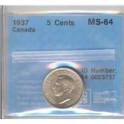 5 Cents 1937, graded CCCS MS-64.