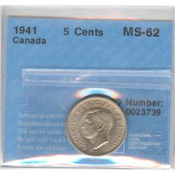 5 Cents 1941, graded CCCS MS-62.