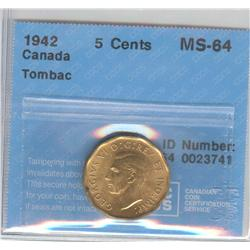 5 Cents 1942, graded CCCS MS-64; Tombac.