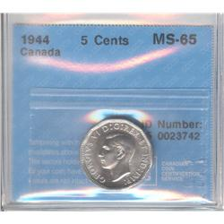 5 Cents 1944, graded CCCS MS-65.