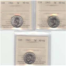 5 Cents 1944 et 2 x 1945, graded ICCS MS-64. Lot of 3 coins.