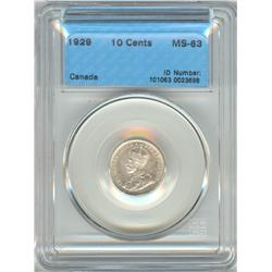 10 Cents 1929, graded CCCS MS-63.