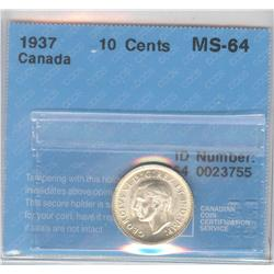 10 Cents 1937, graded CCCS MS-64.