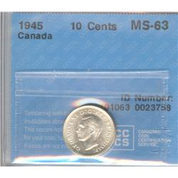 10 Cents 1945, graded CCCS MS-63.