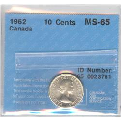 10 Cents 1962, graded CCCS MS-65.