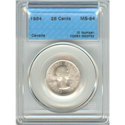 25 Cents 1954, graded CCCS MS-64.
