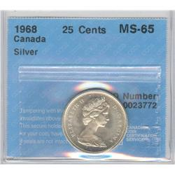 25 Cents 1968, graded CCCS MS-65; Silver.