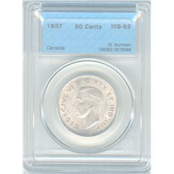 50 Cents 1937, graded CCCS MS-63.
