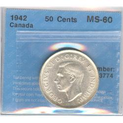 50 Cents 1942, graded CCCS MS-60.