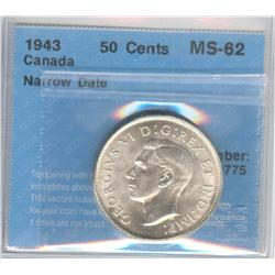 50 Cents 1943, graded CCCS MS-62; Narrow Date.