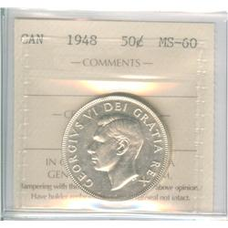 50 Cents 1948, graded ICCS MS-60.