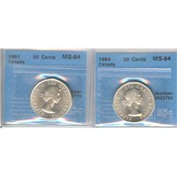 50 Cents 1961 & 1964, both graded CCCS MS-64.