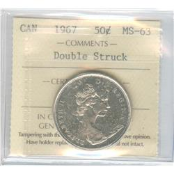 50 Cents 1967, graded ICCS MS-63; Double Struck.