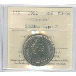 50 Cents 1982, graded ICCS MS-64; Small Beads, Type 2.