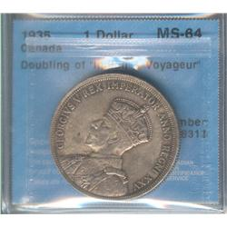 Dollar 1935, graded CCCS MS-64; Doubling on Indian & Voyageur.