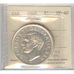 Dollar 1948, graded ICCS EF-40; Cleaned.