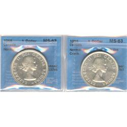 Dollar 1954, graded CCCS MS-63; Normal Water Lines and 1955, graded CCCS MS-63; Normal Water Lines w