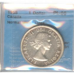 Dollar 1955, graded PL-66; Normal Water Lines.