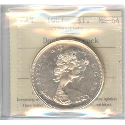 Dollar 1967, graded ICCS MS-64 Double Struck.