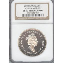 Dollar 2002, graded NGC PF-69; Ultra Cameo, Queen Mother.