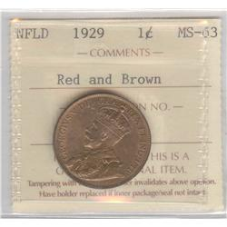 Newfoundland Cent 1929, graded ICCS MS-63; Red & Brown.