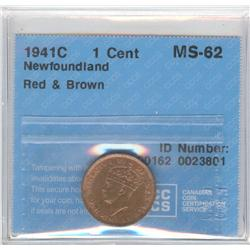 Newfoundland Cent 1941C, graded CCCS MS-62; Red & Brown.