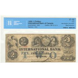 International Bank of Canada, $2.00 1858, 380-10-14-12, Fitch, 8462, Red Serial Number, graded CCCS