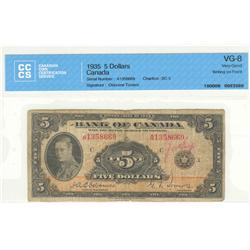 Bank of Canada, $5.00 1935, BC-5, graded CCCS VG-8, Osborne Towers, A1358669, English, writing on fr