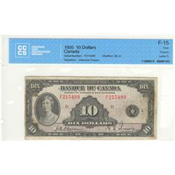 Bank of Canada, $10.00 1935, BC-8, graded CCCS F-15, Osborne Towers, F215499, French.